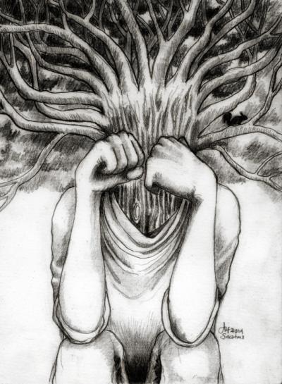 """Perplexing thought"" Alf Sukatmo. Pencil on paper. 2014."